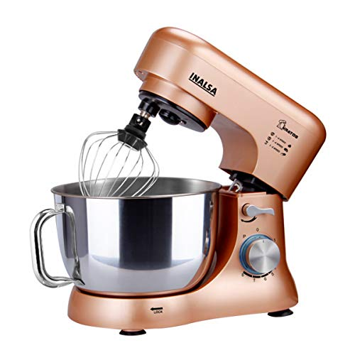 Inalsa Stand Mixer Kratos-1000W with 5L SS Bowl| Includes Whisking Cone, Mixing Beater & Dough Hook,...