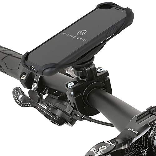 Wicked Chili QuickMOUNT Fahrrad Halterung kompatibel mit iPhone XS und iPhone X - Fahrrad Motorrad Lenker Adapter + Outdoor Case + Sicherungsband (360° drehbar - für 22-32 mm Lenker) schwarz