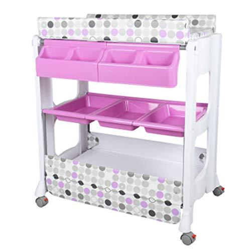 Table à langer bébé, Station de bain nouveau-né pour petit espace, Commode portable pour les 0-2 ans Bambin, Polyvalent Soins de massage avec des sangles de sécurité