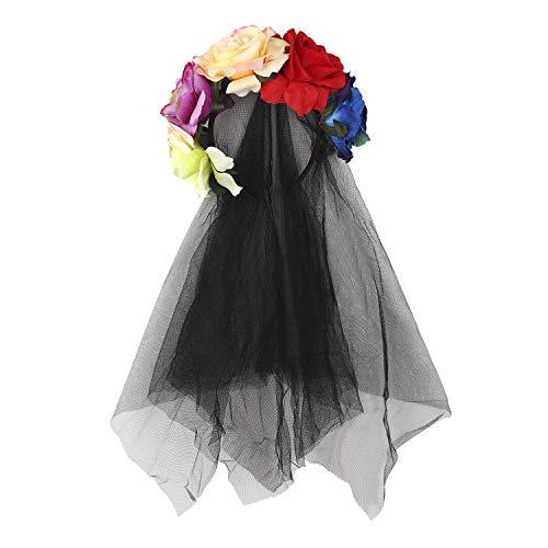 RUIXIB Damen Tag der Toten Haarschmuck mit Rosen und Schleier Kopfschmuck Halloween Kostüm Accessoire Hochzeit Blumen Kranz Schwarz Brautschleier für Hochzeiten Festival Party