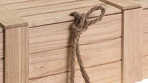 Meinposten Holzkiste mit Deckel Kiste Schatzkiste Schatztruhe Holzkasten Holz braun Truhe mit Deckel (H 15 x B 36 x T 26 cm) - 2