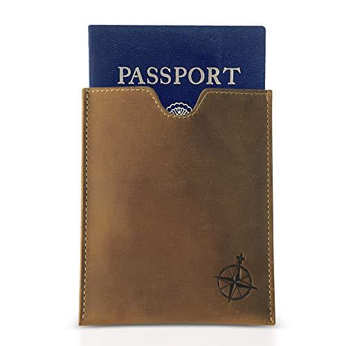 Porta Pasaportes De Cuero - Billetera De Pasaporte De Cuero Genuino con Bloqueo RFID - Funda De Bolsillo para Pasaporte Hecha A Mano Ideal para Viajar