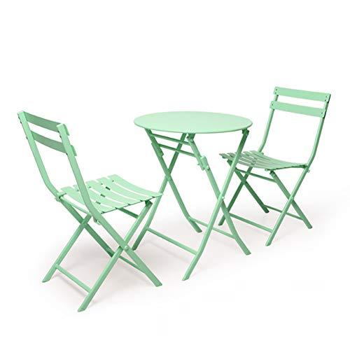 Hmcozy Gran Patio de Primera Calidad de Acero Patio Bistro Set, Juegos al Aire Libre Plegable de Muebles para Patio, 3 Piezas Juego de Patio Patio Plegable Mesa y sillas,4