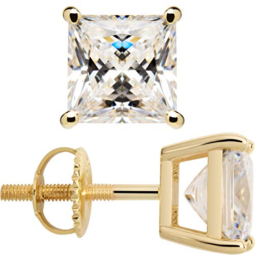 14K Solid Yellow Gold Stud Earrings | Princess Cut Cubic Zirconia | Screw Back Posts | 4.0 CTW | With Gift Box