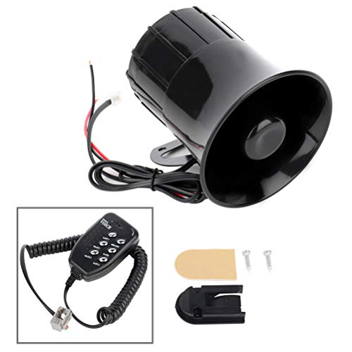 FINDAUTO 12V Electronic Car Siren 6 Tone Sound Alarm Horn Loud Warning Horn for Car Truck Boat RV