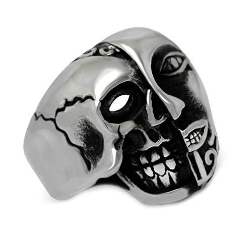 DOLOVE Edelstahl Ringe Herren Totenkopf Gothic Schädel Silber Ringe In Grösse 67 (21.3)
