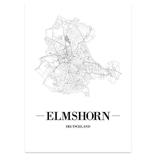 JUNIWORDS Stadtposter - Wähle Deine Stadt - Elmshorn - 40 x 60 cm Poster - Schrift A - Weiß