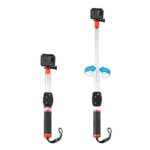 TELESIN Telescopic Waterproof Selfie Stick- for Gopro Hero 2018 Hero 7 Hero 6 5 4 3+ 5 Black Session, Fusion, Compact Action Camera Pole Monopod 14' to 24' with Cradle for Remote