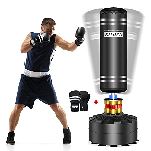 Kitopa Freestanding Punching Bag with Boxing Gloves, 70'-205lbs Springy Heavy Bag, Tear-Resistant, Fast Rebound, Long-Term Onslaught of Kicks Suction Cup Base Stand for Adult Youth