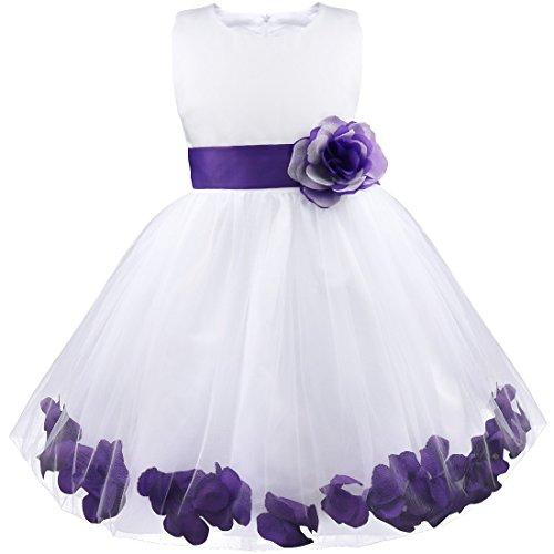 iEFiEL Mädchen Kleid Pinzessin Blumen-Mädchen Kinder Weiß Kleid Hochzeit Festkleid Kommunionkleid 92 98 104 110 116 128 140 152 164 Lila 104