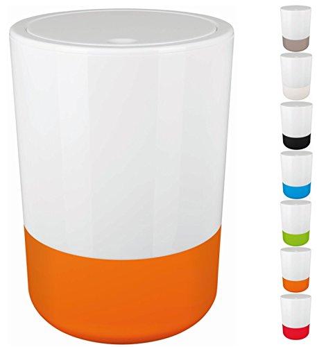 Spirella Design Kosmetikeimer Moji Bad Treteimer Schwingdeckeleimer Abfallbehälter mit Schwingdeckel 5 Liter mit Silikonboden Weiß/Orange