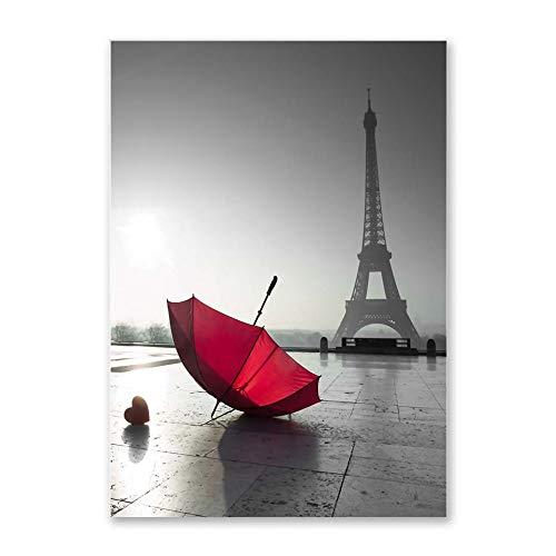 fdgdfgd Wandkunst Bild Eiffelturm Roter Regenschirm auf Paris Street Modern Cityscape Poster Leinwand Malerei Wohnzimmer Dekoration Geschenk