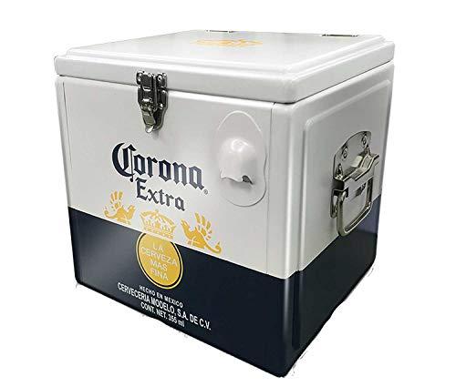 Ufficiale Corona [12 Birre – 12 L] Forte alluminio Retro Cooler Ice Box (con maniglie per il trasporto e apribottiglie)