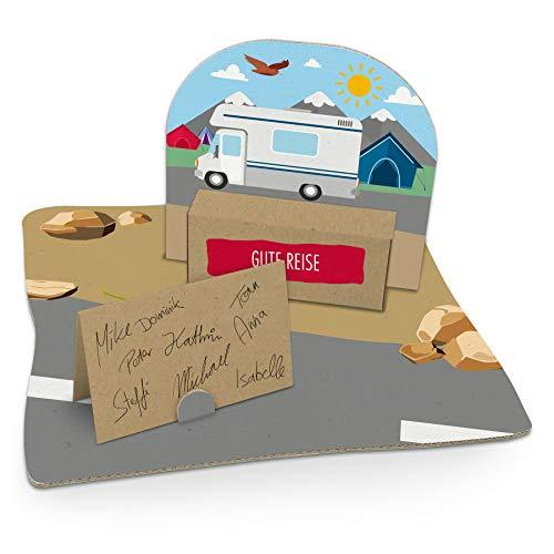 itenga Wohnmobil mit Zelten Geldgeschenk Gastgeschenk Verpackung Reisekasse mit Bodenplatte, Geschenkkarte und Stickerbogen