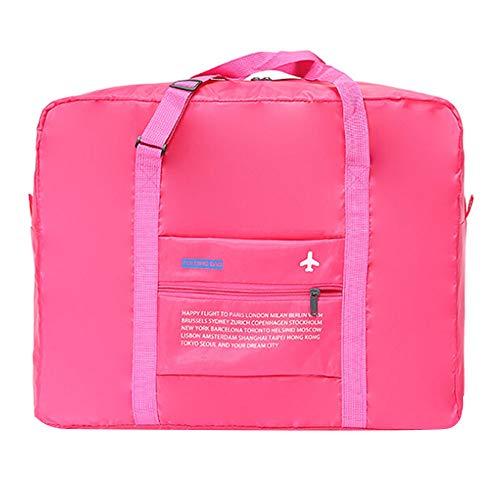 NYKKOLA Viaje portátil ligero impermeable plegable almacenamiento llevar equipaje bolsa de mano, color Rosa, talla Talla única