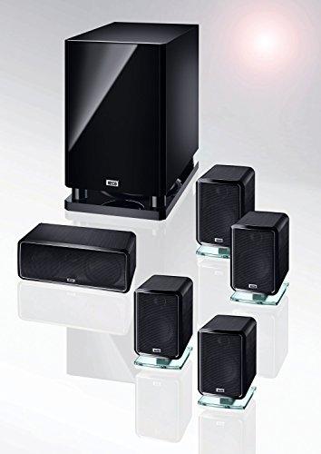 Heco Ambient 5.1A | Hochwertiges 5.1-Heimkino-System mit Aktiv-Subwoofer | gebürstete Aluminium Oberflächen - schwarz