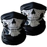 Alittle 3 pzas Pasamontañas de Calavera Braga de Cuello Casco Moto Mascara Moto Negros para Invierno Respirable Máscara de Tubo Máscara Facial de la Motocicleta