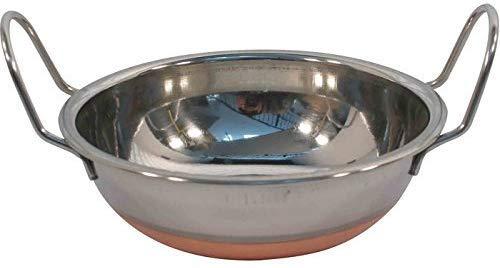 Juego de 6 cuencos de Karahi indio con asas de acero inoxidable con fondo de cobre, 14 cm
