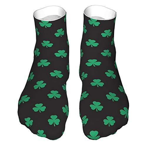 Erwachsene Socken, Low-Cut Socken, Freizeitsocken, atmungsaktive Sportsocken, Unisex 30 cm, Glückliches irisches Schwarz-Grünes Kleeblatt