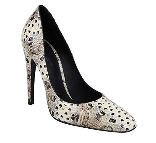 Bottega Veneta Women's Pearl/Black Leather Elaphe Circle Stiletto Heels 451758 1909 (38 EU / 8 US)