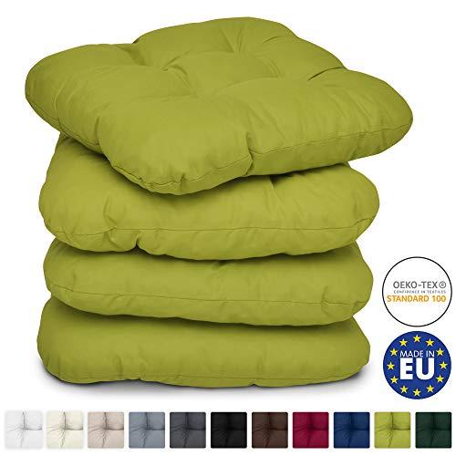 Beautissu Set de 4 Cojines para sillas Lisa 40x40x8 cm - Verde Claro - para sillas de jardín, sofás, Camas - Juego de Cojines con Relleno voluminoso y cómodo