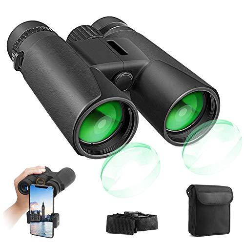 Prismáticos profesionales, 12x42 HD Prismaticos Vision Nocturna Débil con Adaptador de Teléfono, Prismas BaK4 y FMC. Ideales para Observación de Aves, Caza, Senderismo, Astronomía y Camping