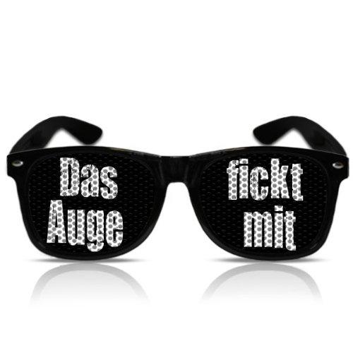 Atzenbrille Nerd Porno Piloten Brille Motiv fecher Spruch Das Auge fickt mit (NERD schwarz)