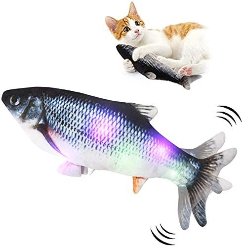 MOKAY Juguete Hierba Gatera,Juguete Interactivo, USB Simulación De Peces De Peluche Juguetes,Catnip Fish Toys, Juguete Electrico Automático para Gatos Gatito,Juguetes De Gatito De Interior