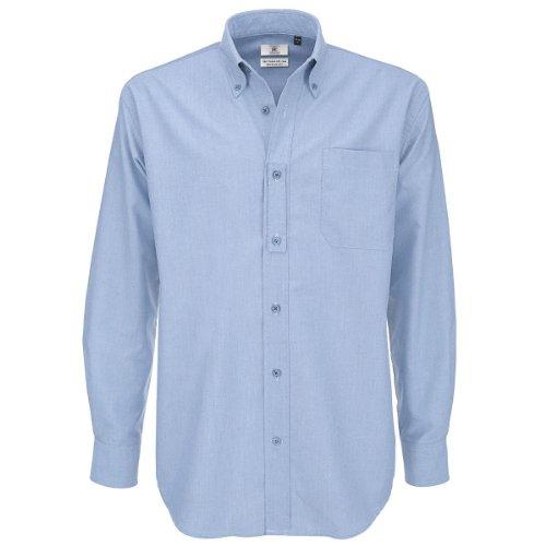 B&C Camicia da uomo a maniche lunghe, tessuto Oxford, taglia XXXL, blu