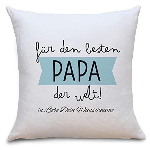 Bester Papa der Welt Flauschiges Kissen mit Motiv Personalisiert mit Namen Geschenke Geschenkideen für Papa zum GeburtstagVatertag Zierkissen mit Füllung