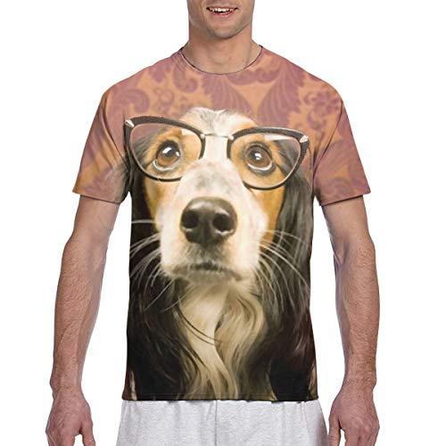 Herren T-Shirts Hund mit Cat Eye Brille Nachschlagen Leichter Herren Base Kurzarm T-Shirt