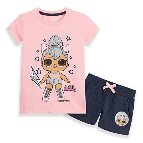 L.O.L. Surprise! Pijama Niña Verano, Ropa de Niña con Las Muñecas LOL Unicornio y Kitty Queen, Set 2 Piezas Pantalones Cortos Niña y Camiseta, Regalos Niñas y Adolescentes (Rosa Kitty, 5 años)