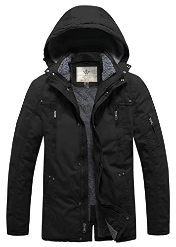 WenVen Men's Insulated Winter Casual Jackets with Removable Hood (Black,M)
