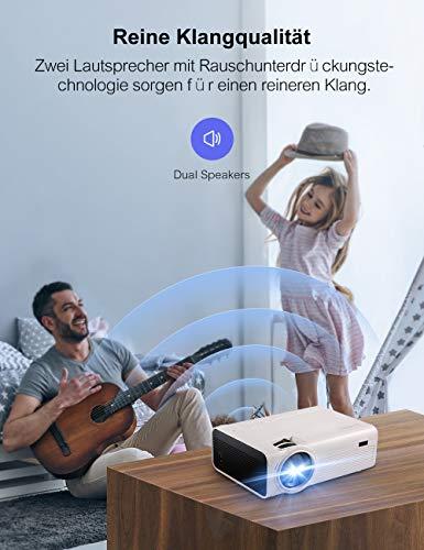 Mini Video Beamer Crosstour Full HD Unterstützt Heimkino Projector LED Handy Tragbar Projektor Kompatibel mit Chromecast/iPhone/Android/TV Box/Tablette - 6
