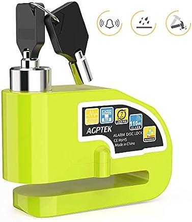 AGPTEK Candado Disco Moto con Alarma Antirrobo Acero 7mm 110DB para Motos, Motocicletas, Bicicletas, Candado Bloqueo para Moto Impermeable con Bolsa y 2 x Llaves, Verde