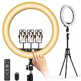 Ringlicht mit stativ Jeemak 18 Zoll 45W Dimmbar 5700K Selfie Ringleuchte mit Fernbedienung, Handyhalter und 3 Farbe und 10 Helligkeitsstufen für YouTube, Make-up, Tiktok, und Fotografie