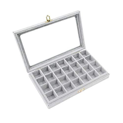 Caja de Joyas 1 Piezas Caja Joyero,Terciopelo Organizador de Pendientes Caja para joyerias Anillos Pulsera Collar Pendientes,28 Section (Grey) para Anillo Collar Reloj Pendiente