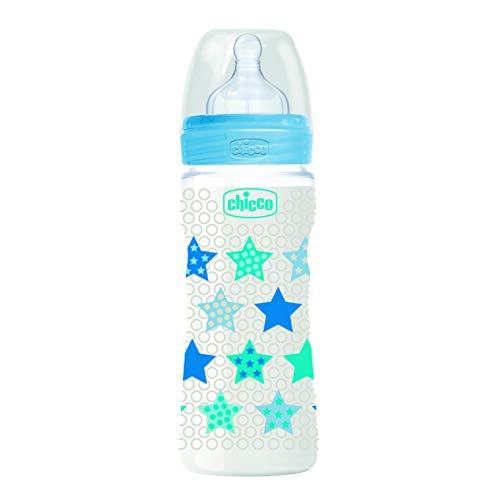 Chicco Babyfläschchen Well-Being, 330 ml, schneller Fluss, 4m+ , Silikon, Boy