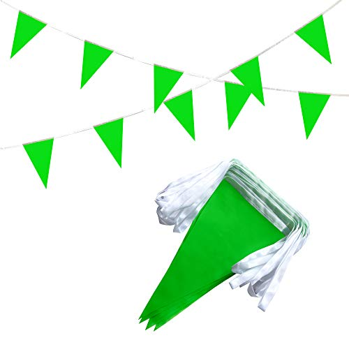 TSMD Solid Green Pennant Banners Flags String DIY Bunting Flags,Party Decorations for Grand Opening,Kids Birthday,Party Events Celebration