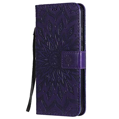 KKEIKO Hülle für Huawei Honor Play 3, PU Leder Brieftasche Schutzhülle Klapphülle, Sun Blumen Design Stoßfest Handyhülle für Huawei Honor Play 3 - Violett