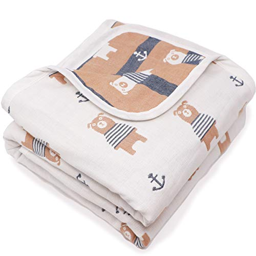 [LILY CUPS] ガーゼケット タオル お昼寝マット ベビーバス おくるみ スリーパー 6重 綿毛布 出産祝い (L(トドラー), 白)