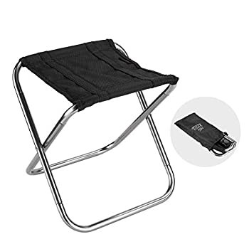 DEERFAMY Mini Camping Pocket Stool 9.87oz Ultralight Folding Compact Stools with Carrying Bag Hold Up to 132lbs for Backpacking Hiking Fishing Travel Outdoor Lawn 1 Pack