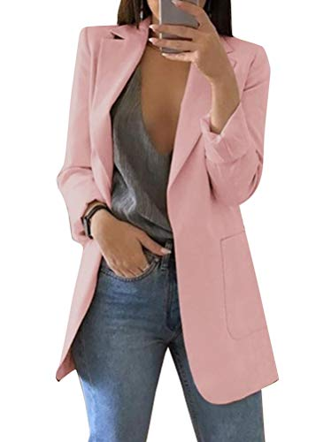 Minetom Donna Maniche Lunghe Aperto Davanti Colletto Cappotto Elegante Ufficio Business Blazer Top Gilet OL Giacca Cardigan A Rosa IT 48