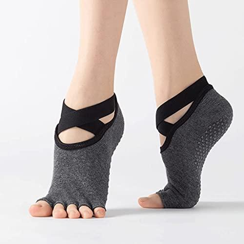 ZSQAW Calcetines de Yoga para Mujeres agarres Antideslizantes, Ideales para Pilates, Ballet, Danza, Entrenamiento Descalzo (Color : Dark Gray, Size : EUR 35-40 US 4.5-8.5)