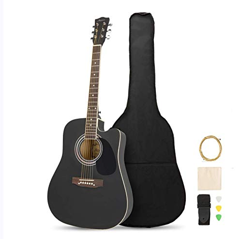 MATICO 41 Inch 6 Strings Acoustic Guitar Student Pack, Handmade Cutaway Basswood Guitar Starter Kit with Accessories, Matte Blac