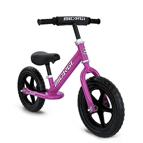 "Micargi Hunter 12"" Lightweight Balance Bike, Ages 18 Months to 5 Years, Kids Training Bicycle, Inflation-Free EVA Tires, No-Pedal Pre Walking Bike for Toddler & Kids (Purple)"