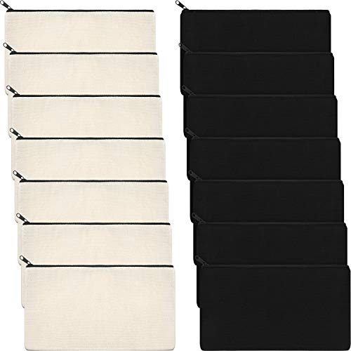 Canvas Makeup Bags Canvas Zipper Pouch Bags Pencil Case Blank DIY Craft Bags Cosmetic Pouch for Travel DIY Craft School (Black and Beige, 14 Pieces)