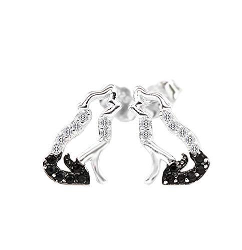 MixiuEuro Women Girls Wolf Way Stud Earrings 925 Sterling Silver Cubic Zirconia Open Wolf Stud Earrings Jewellery Gift For Girls Child