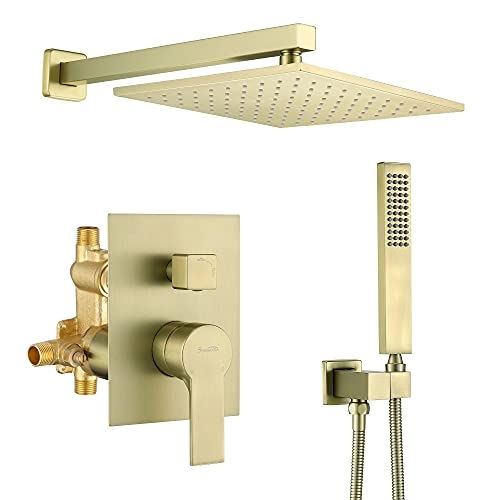 SHAMANDA Brass Rainfall Shower System, Luxuly Bathroom Shower Faucet Combo Set Brushed Gold(Including Rough-In Valve Body and Trim), L70001-3