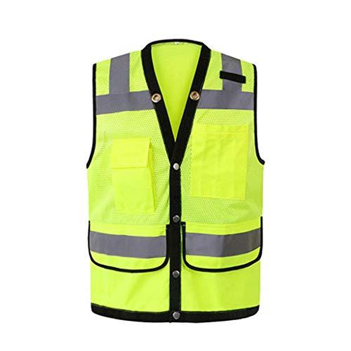 NZQLJT Chaleco Trabajo Sitio de construcción Transpirable de protección, Tráfico Nocturno Multifuncional, Reflectante arquitectónica, Alta Visibilidad, Chaleco Reflectante (Color : Yellow, Size : S)
